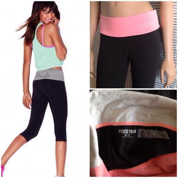 0a62ad2b407a03 PINK Victoria's Secret Pants | Bogopink Vs Cropped Foldover Leggings ...